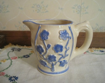 Blue and White Creamer or Small Pitcher