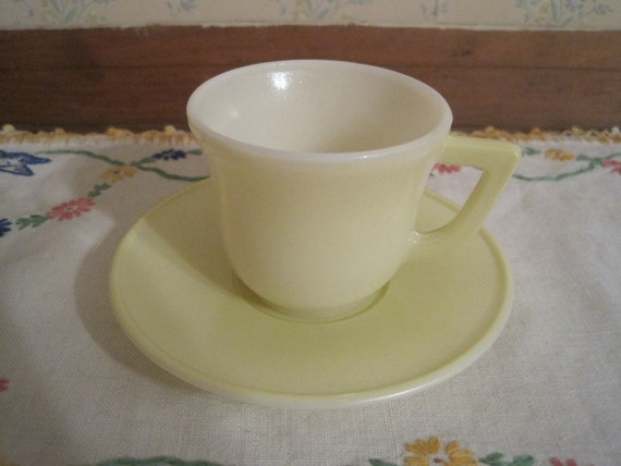 Yellow Hazel Atlas Children's Cup and Saucer