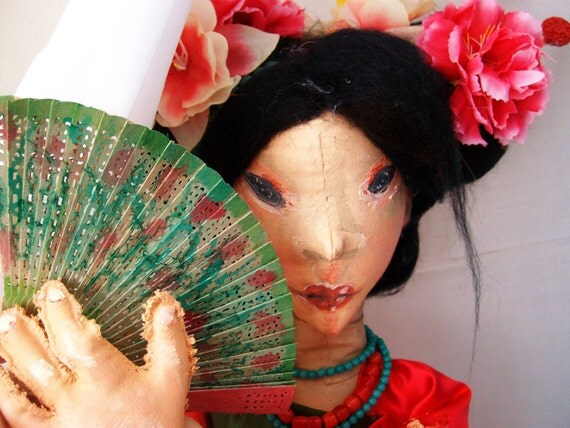 Art Doll OOAK, Articulated Jointed Soft Sculpture - Chinese Bride Red Butterfly