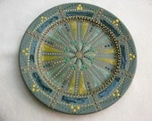 Hand painted mandala style decorative plate