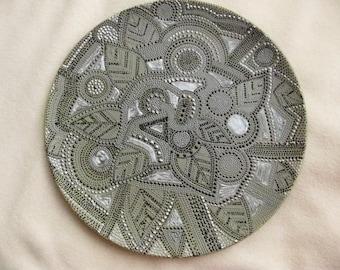 Hand painted zendala style decorative plate