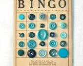 Vintage Button Lot, Teal Buttons, Vintage Supplies -- 0338