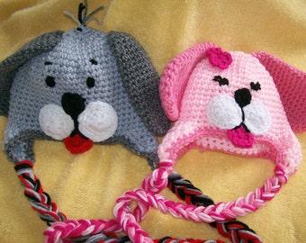Puppy Hats /Twin set/ Crochet Puppy Twin Hats, Photo Prop/cbbcreations /Newborn-4T