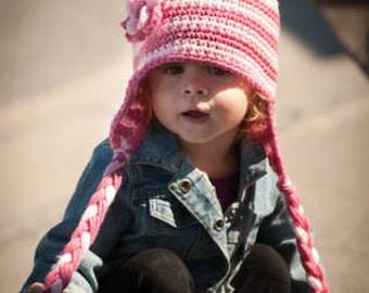 Striped Earflap Hat SOO CUTE- Customized Boy or Girl -Preemie-4T/cbbcreations