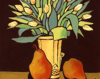Yellow Tulips print/Pears/still life/print/giclee/fine art
