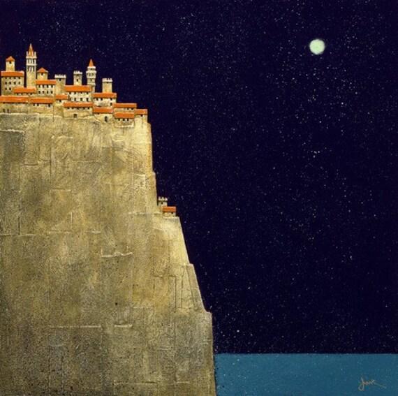 Corniglia Italy art/Italian landscape print/cinque terre print/countryside Italy/Italian hill town art/moon and sky print/giclee/fine art