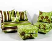 Doll Sofa Furniture Chair Ottoman Seat Green Brown White Barbie Dolls Liv Dynamite Girls 1:6