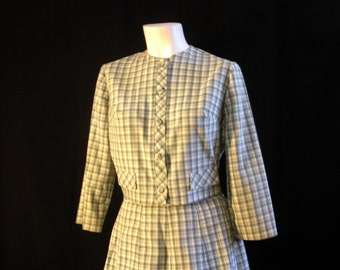Vintage Pleated Checked Skirt with Matching Jacket Blouse