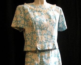 Light Blue Floral Two Piece Sixties Outfit