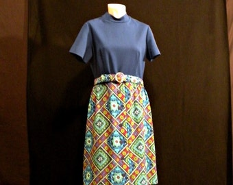 Dark Blue Sixties Dress with Crazy Patterned Lower Half