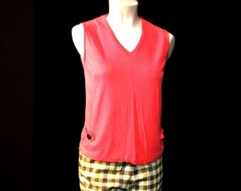 Sixties Pink Vest Blouse with Side Buckles