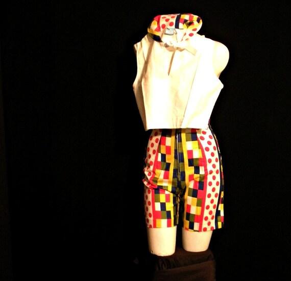Vintage Matching Blouse and Shorts Set