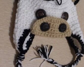 Crochet Cow Hat and Diaper Cover Set