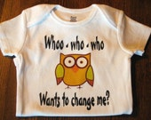 Onesie - Baby shower gift - Whoo who who owl design
