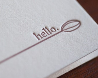 Hello - Cardamom Signature Letterpress Notecard