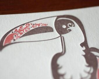 Natalie's Toucan - Letterpress Bird Notecard