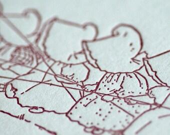 Sue Goes Fishing - Sunbonnet Babies Letterpress Notecard