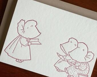 Sue Reads a Book - Sunbonnet Babies Letterpress Notecard