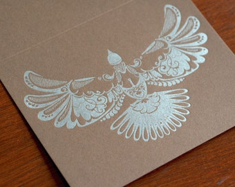 Natalie's Dove - Letterpress Bird Notecard