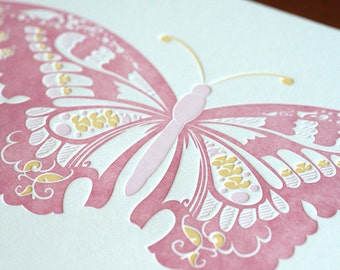 Natalie's Butterfly - Pink - Limited Edition Letterpress Print