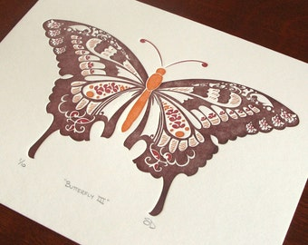 Natalie's Butterfly - Brown - Limited Edition Letterpress Print