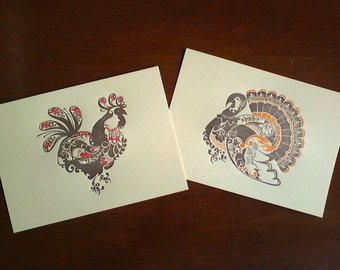 Barnyard Birds - Rooster & Turkey - Set of 2 5x7 Letterpress Prints