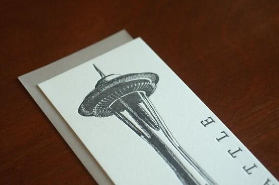 Space Needle - Seattle Letterpress Flat Card