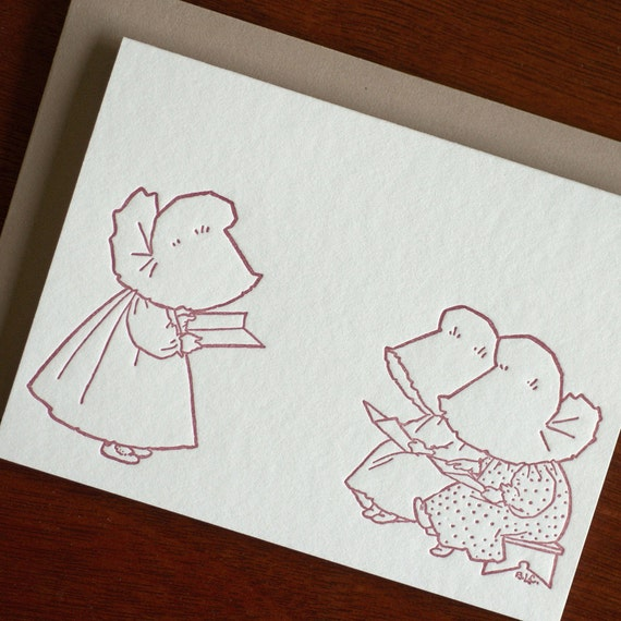 Sue Reads a Book - Sunbonnet Babies Letterpress Notecard