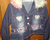 "Girls Jean Jacket ,PIF,  up -cycled, re -treaded ,size 5-6, Decorated with hearts and adorable. ""Fur"" Collar and cuffs, ON SALE"
