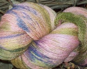 """Hand Dyed,  Peruvian Highland Wool , Fingering Weight , 440 yards, """"Pink and Purple Tulips"""". Pink, Purple and Moss Green yarn colors"""