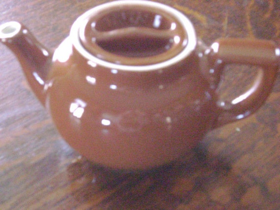 Teapot, Vintage Diner, Brown, Marked Hall, Vintage, Small 2 person, teaparty, serveware, coffee, home decor