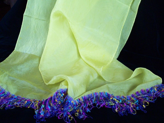 "Hand-Dyed,  Silk , Habotai Scarf ,14"" by 69"", Sunshine Yellow , with beautiful fringe, 3"" long, dress up, dress down silk scarf"