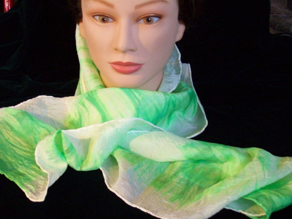 """Silk Scarf, Hand dyed, Lime or Spring Green, and White, 10"""" by 57"""", HABOTAI SILK, hand painted, dress up, dress down, scarf, fashion"""