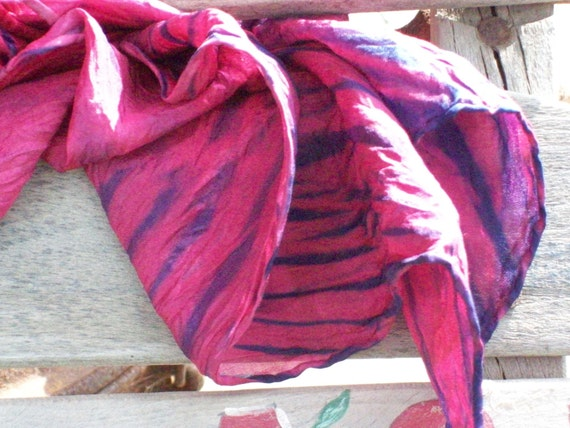 "Hand-Dyed Silk , Habotai Scarf,  8"" by 68"", Vermillion (Raspberry) and Deep Blue, Beautiful and feminine, belt, head wrap, scarf"