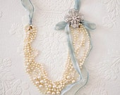 Bridal faux pearl and hand dyed silk necklace