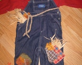 baby handmade Halloween  scarecrow costume size 9 months overalls shirt & hat