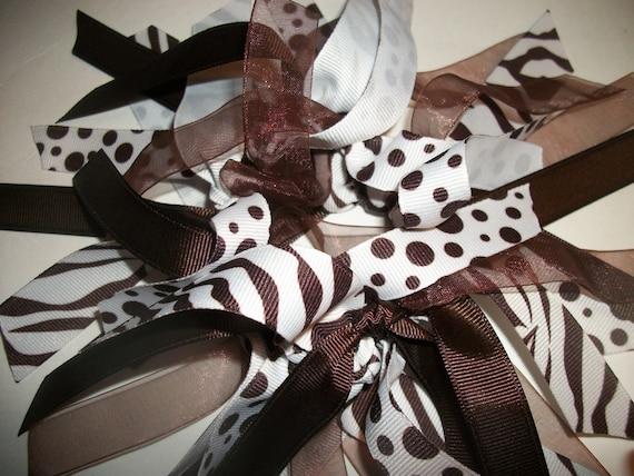 CHEER STYLE - Chocolate and Vanilla  Ribbon Cheer Style Ponytail Holder