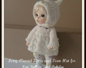 Instant Download PDF Knitting Pattern for Long Sleeved Dress and Pixie Hat for Lati Yellow and Pukifee