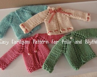 Instant Download PDF Cardigan Knitting Pattern for Pullip and Blythe