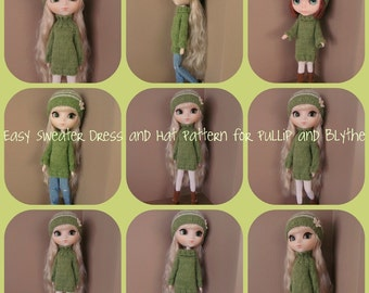 Instant Download PDF Sweater Dress and Hat Knitting Pattern for Pullip and Blythe
