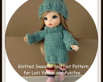 Instant Download PDF Pattern for Knitted Sweater and Hat for Lati Yellow and Pukifee