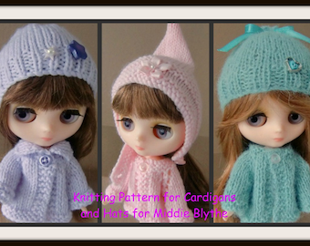Instant Download PDF Knitting Pattern for 3 Sets of Cardigans and Hats for Middie Blythe