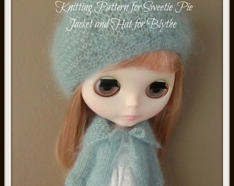 Instant Download PDF Pattern for Sweetie Pie Knitted Jacket and Hat for Blythe