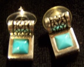 Elegant Turquoise pierced earrings-not marked
