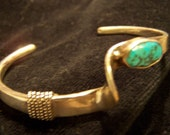 Vintage Turquoise Cuff Bracelet-Signed R E  Sterling Silver