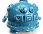 Bright Blue Ceramic Robot Coin Bank