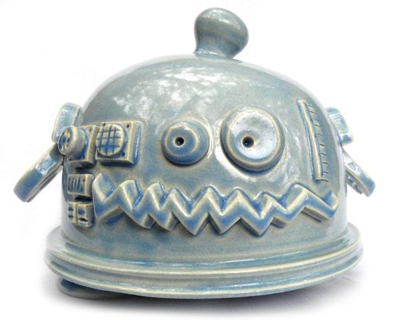 Light Blue Ceramic Robot Coin Bank