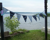 Recycled Blue Striped Bunting Garland