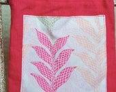 Pink Coral Linen Leaf Drawstring Tarot - Gemstone - Oracle Card - Medicine Pouch