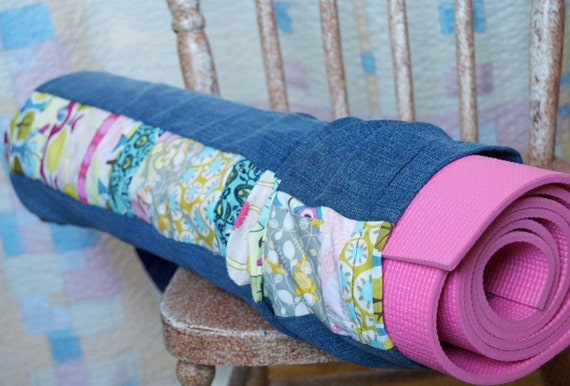 Eco Denim Patchwork Yoga Mat Bag